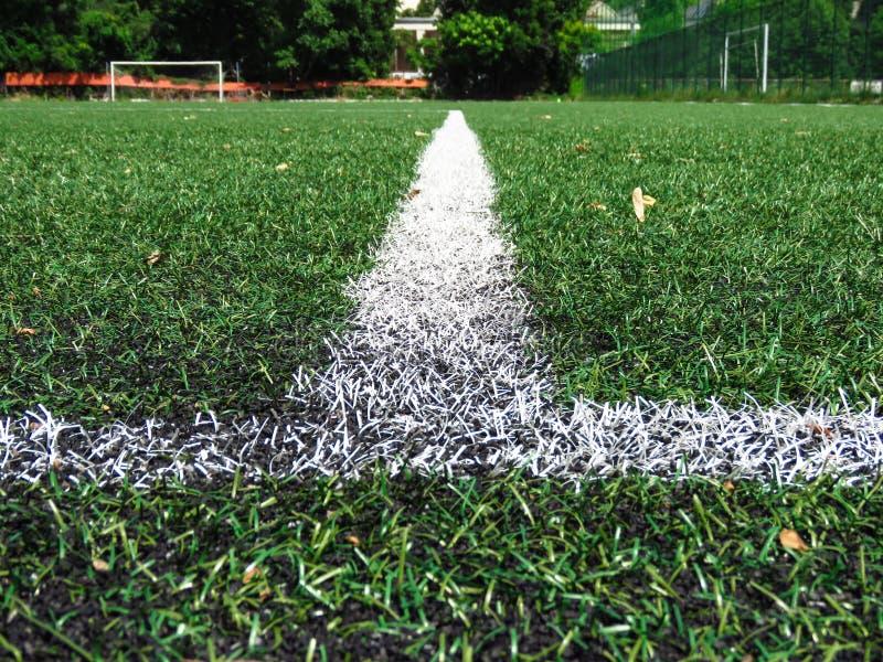 Lignes blanches sur le gazon de lancement du football image stock