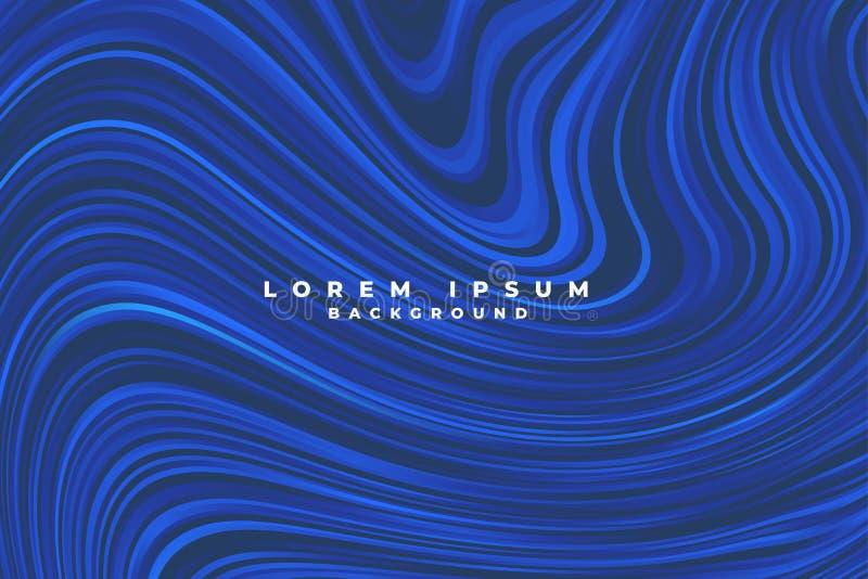 Lignes bleues abstraites fond liquide de remous de style illustration de vecteur