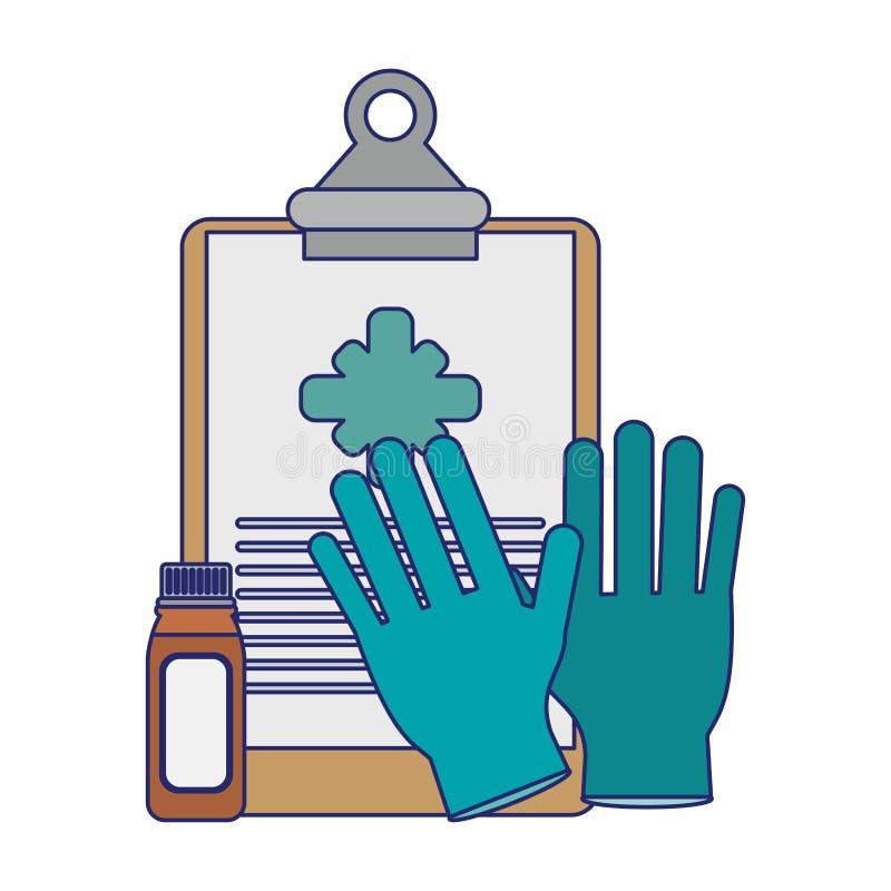 Lignes bleues d'approvisionnements médicaux de soins de santé illustration stock