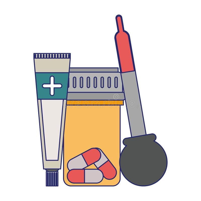 Lignes bleues d'approvisionnements médicaux de soins de santé illustration de vecteur