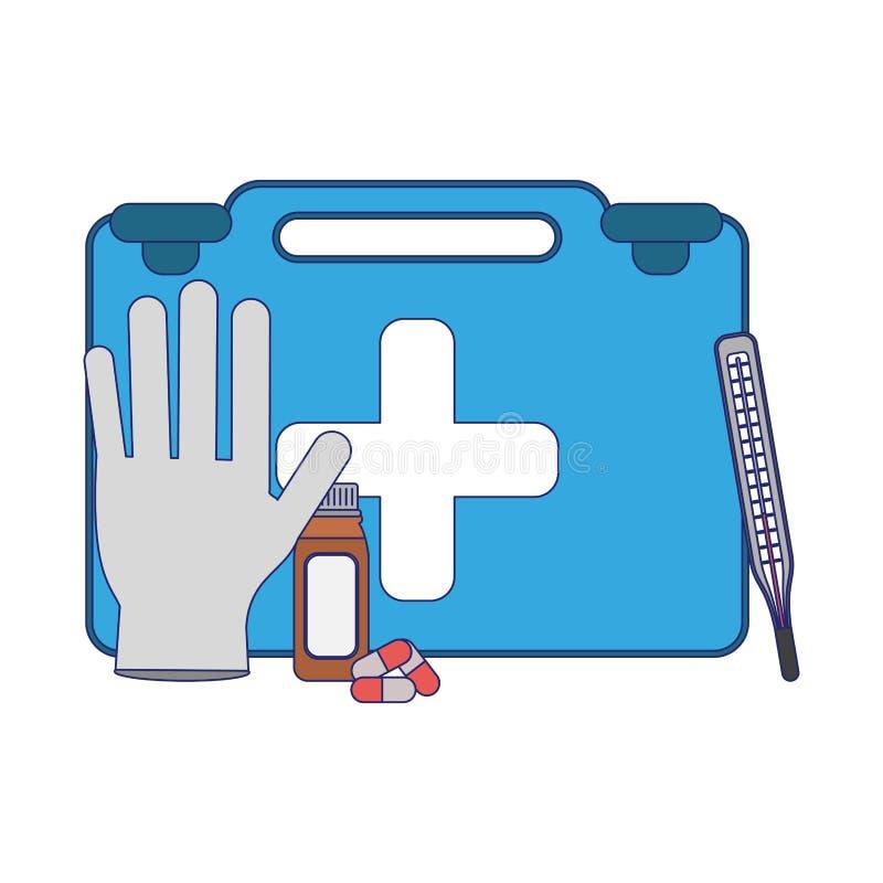 Lignes bleues d'approvisionnements médicaux de soins de santé illustration libre de droits