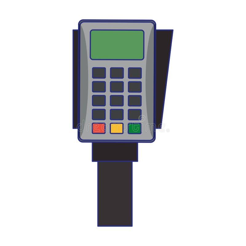 Lignes bleues de dispositif de paiement ?lectronique de lecteur de carte de cr?dit illustration de vecteur