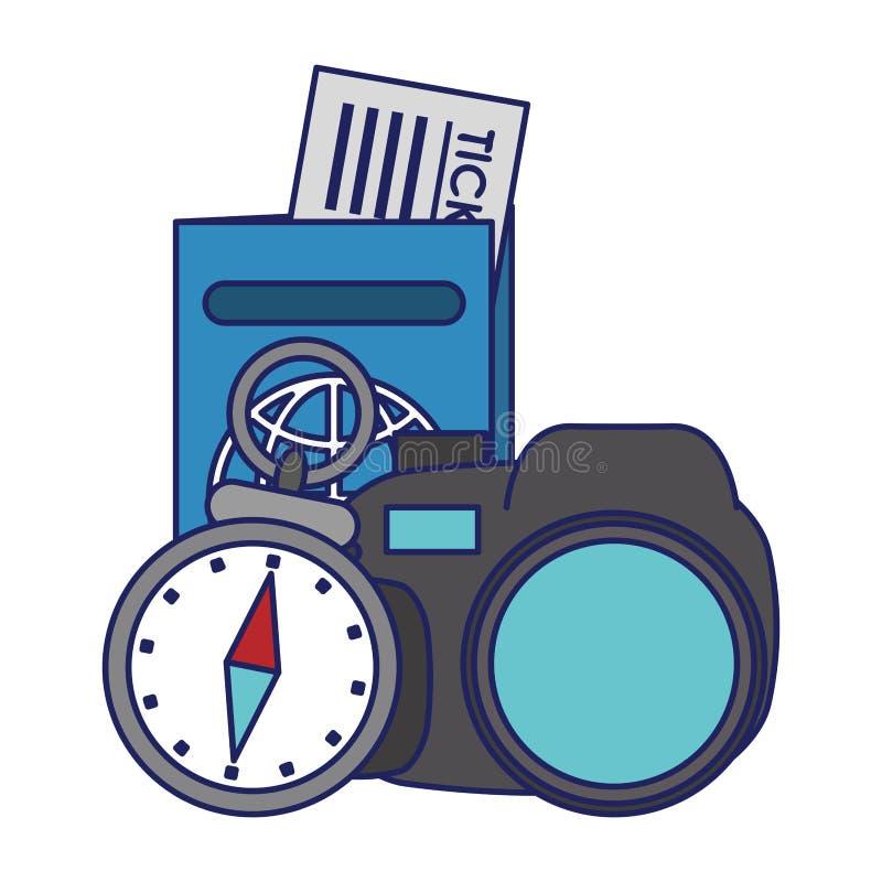 Lignes bleues de symboles de voyage et de vacances illustration stock