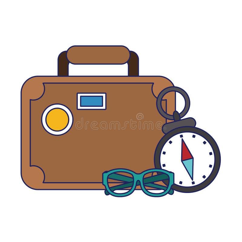 Lignes bleues de symboles de voyage et de vacances illustration de vecteur