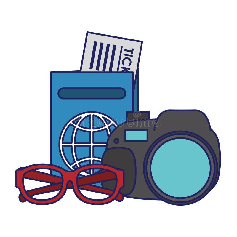 Lignes bleues de symboles de voyage et de vacances illustration libre de droits