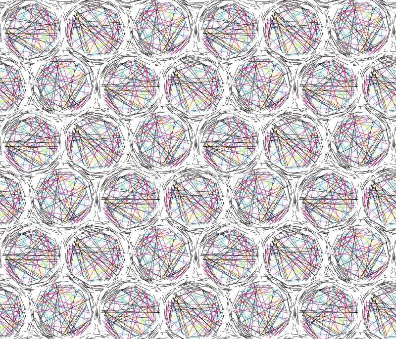 Lignes chaotiques fond sans couture moderne de cercles illustration libre de droits