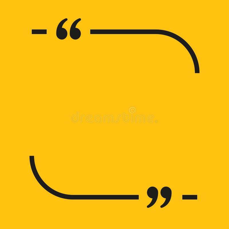 Lignes citation de bulle de la parole Objet de Qoute de la parole illustration libre de droits