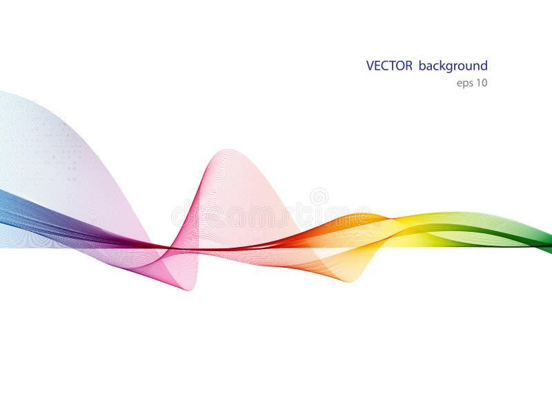 Lignes colorées abstraites écoulement de vague d'isolement sur le fond blanc illustration de vecteur