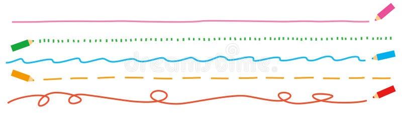 Lignes colorées de crayon illustration stock