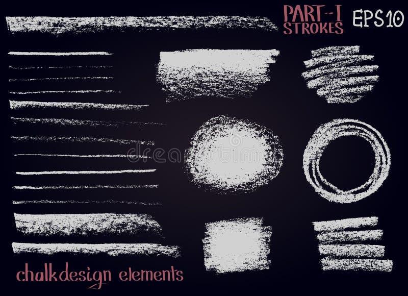 Lignes d'éléments de conception de texture de craie, rayures, courses, en rond et formes de rectangle, cadres sur le conseil noir illustration de vecteur