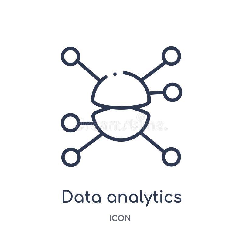 lignes d'analytics de données sur l'icône sphérique de grille de la collection d'ensemble d'interface utilisateurs Ligne mince li illustration libre de droits