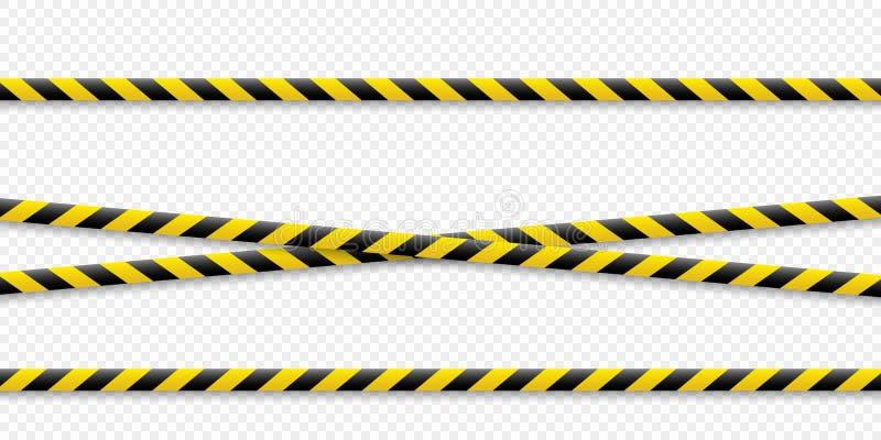 Lignes d'avertissement Avertissez-le est dangereux à la santé Bande de avertissement de barricade, jaune-noire, sur un fond d'iso illustration stock