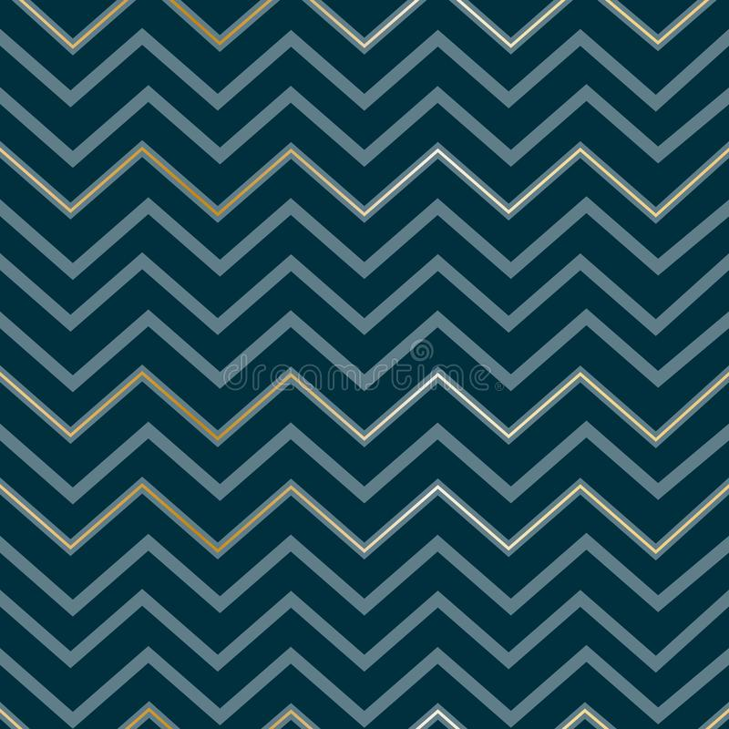 Lignes d'or de luxe élégantes géométriques abstraites sans couture de modèle de zigzag sur une copie de zigzag du modèle des homm illustration stock