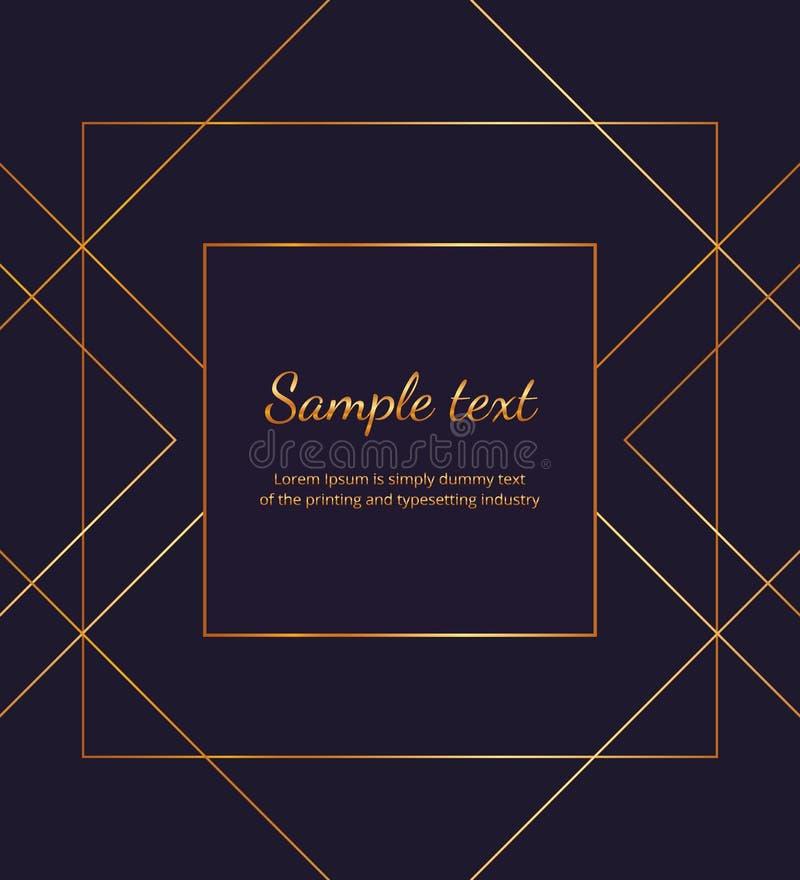 Lignes d'or géométriques sur le fond bleu-foncé Plaquette de luxe minimaliste moderne, conception de cadre Calibre pour l'invitat illustration stock