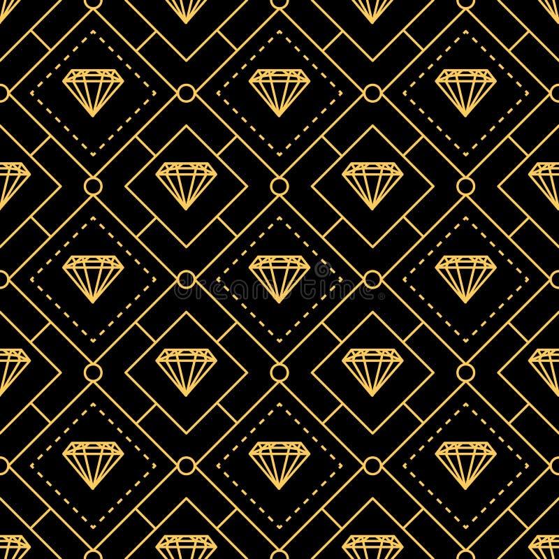 Lignes d'or luxueuses modèle sans couture de diamant illustration stock