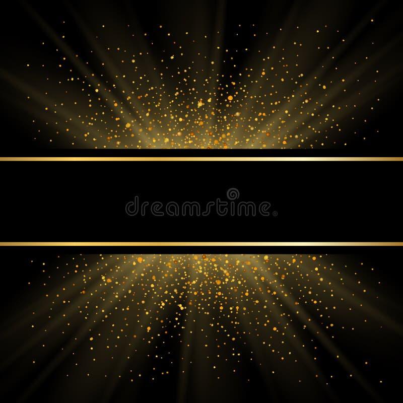 Lignes d'or sur le fond noir Effet d'?tincelle de lueur d'or Cadre lumineux d'?clat Conception magique l?g?re d'effet R?sum? illustration libre de droits