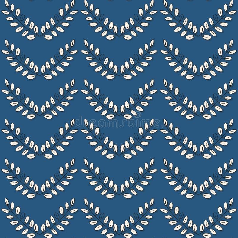 Lignes de Chevron des feuilles sur le bleu illustration libre de droits