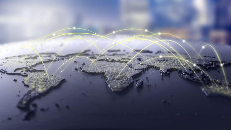 Lignes de connexion autour de carte, thème futuriste de technologie illustration stock