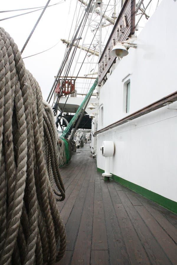 Lignes de corde de bateau de navigation images libres de droits