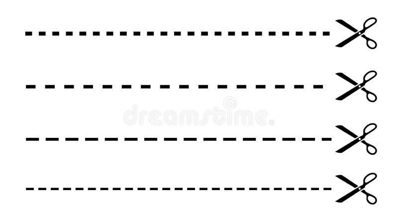 Lignes de coupure avec des ciseaux illustration stock