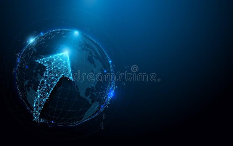 Lignes de forme de réseau de connexions de globe, triangles et conception de style de particules illustration stock