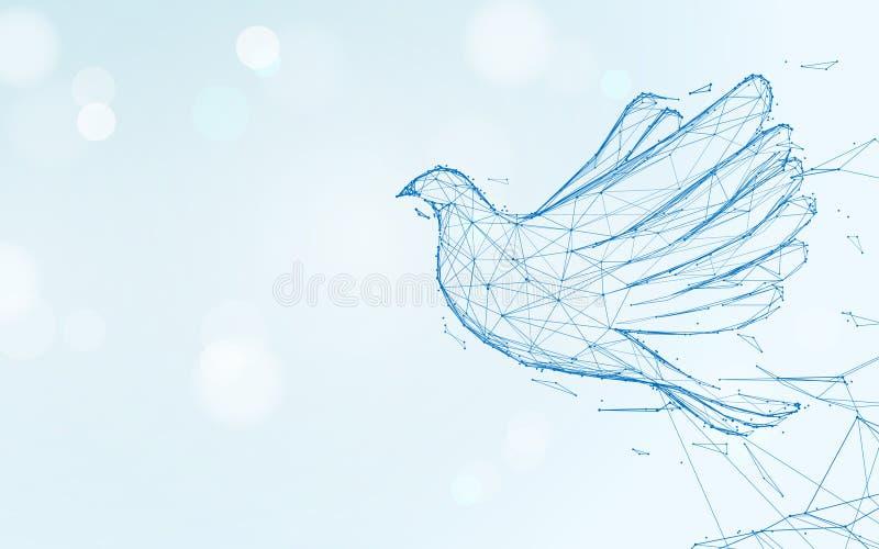 Lignes de forme de vol de pigeon, triangles et conception de style de particules illustration libre de droits