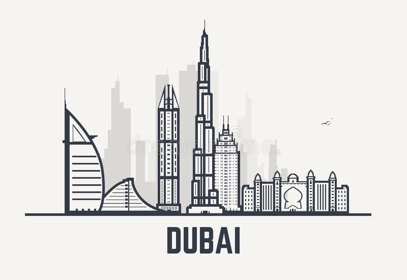 Lignes de noir de Dubaï illustration stock