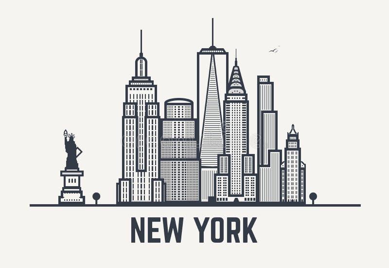 Lignes de noir de New York City illustration de vecteur