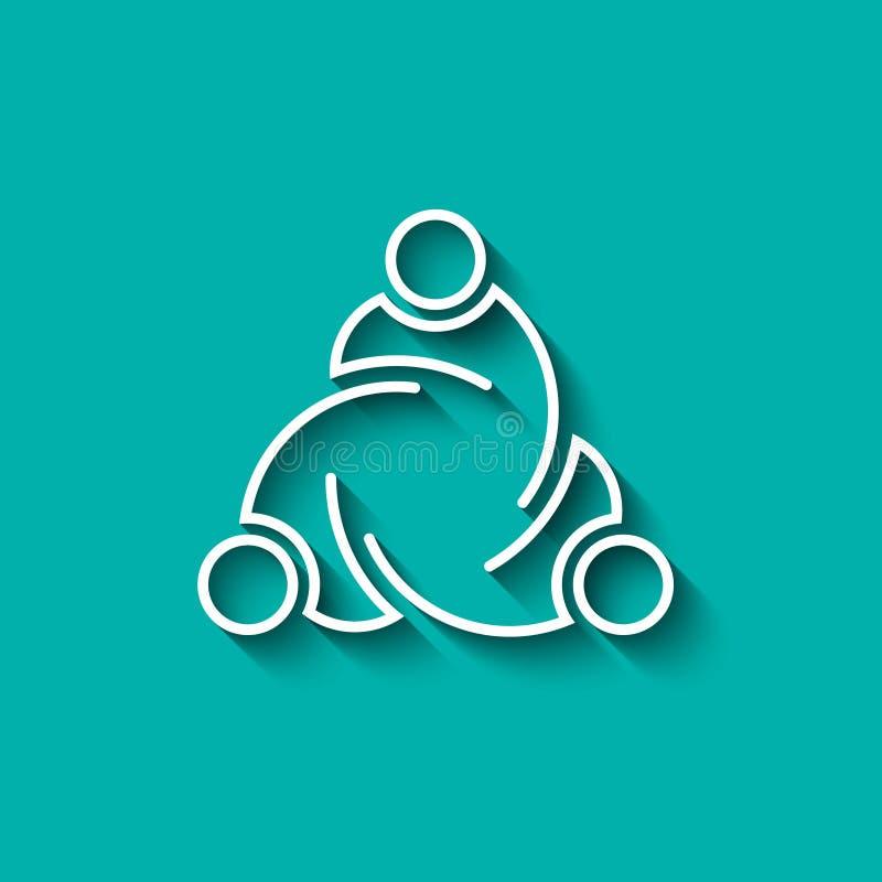 Lignes de personnes de travail d'équipe Conception de logo de vecteur illustration stock