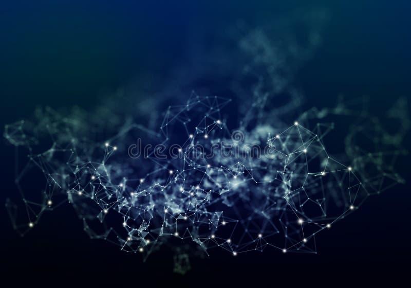 Lignes de plexus, points et faisceaux lumineux avec les points l?gers Fond abstrait de technologie, de science et d'ing?nierie La illustration de vecteur