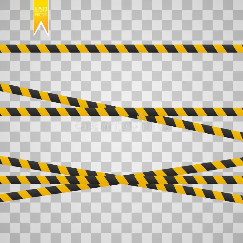 Lignes de précaution d'isolement Dispositifs avertisseurs réalistes E Illustration de vecteur d'isolement sur le fond à carreaux illustration libre de droits