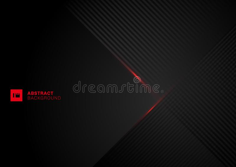 Lignes diagonales abstraites chevauchement de modèle avec la ligne rouge de laser sur le fond noir illustration libre de droits