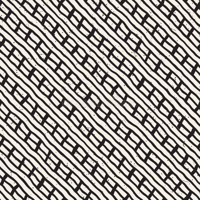Lignes diagonales simples modèle géométrique Fond noir et blanc monochrome de courses Texture tirée par la main d'encre pour le v illustration stock