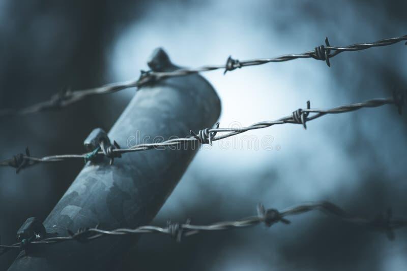 Lignes du barbelé pour délimiter la frontière photographie stock libre de droits