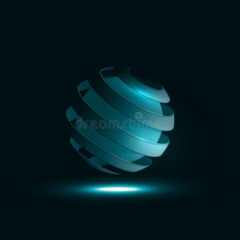 Lignes en spirale d'abrégé sur sphère illustration de vecteur