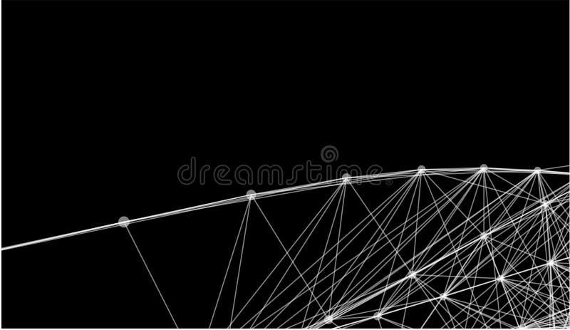 Lignes et grille futuristes abstraites de points Web s'entrelaçant, un réseau des cordes, un x noir et blanc géométrique peu comm illustration stock