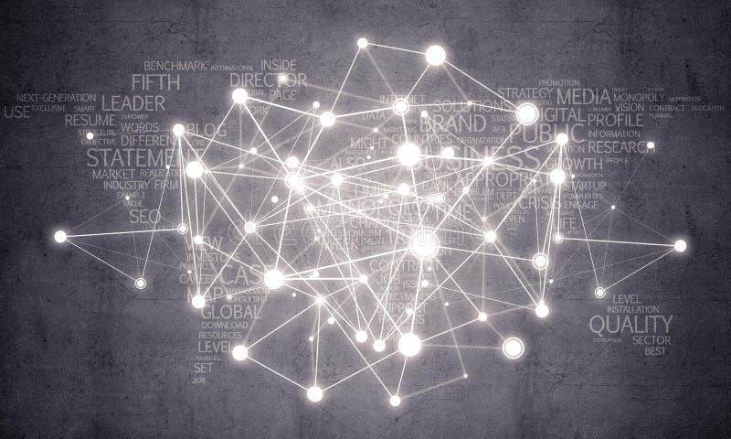 Lignes et points comme idée de mise en réseau dessinés sur le fond de ciment image stock