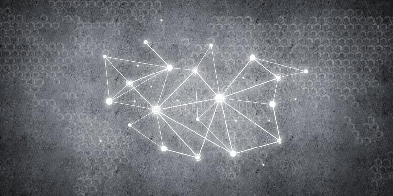Lignes et points comme idée de mise en réseau dessinés sur le fond de ciment photo stock