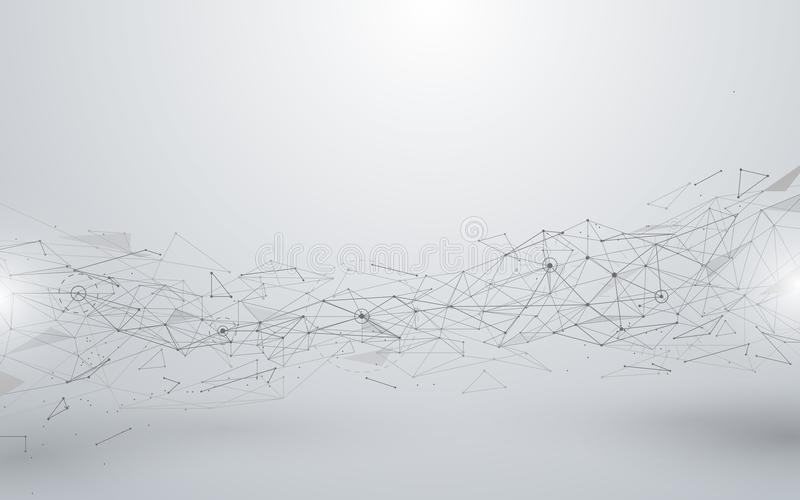 Lignes et polygones abstraits de connexions sur le fond blanc illustration libre de droits