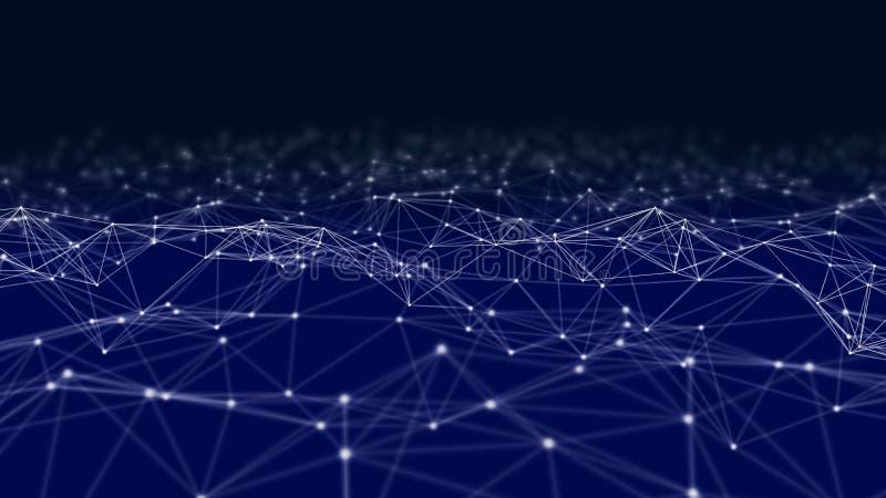 Lignes et sphères de données numériques et de triangle de connexion réseau dans le concept futuriste d'informatique sur le noir,  image libre de droits