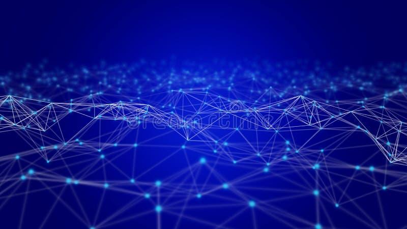 Lignes et sphères de données numériques et de triangle de connexion réseau dans le concept futuriste d'informatique sur le noir,  image stock