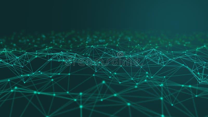 Lignes et sphères de données numériques et de triangle de connexion réseau dans le concept futuriste d'informatique sur le noir,  photo libre de droits