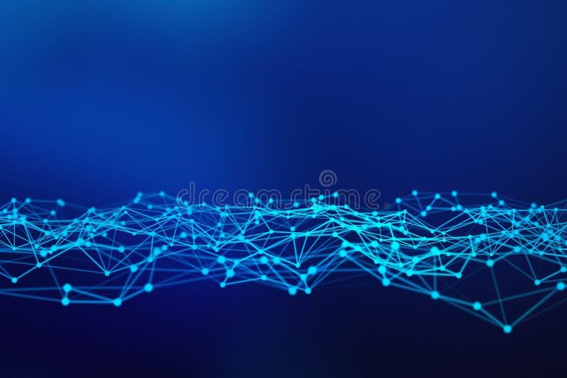 Lignes et sphères de données numériques et de triangle de connexion réseau dans le concept futuriste de technologie sur le fond b illustration libre de droits