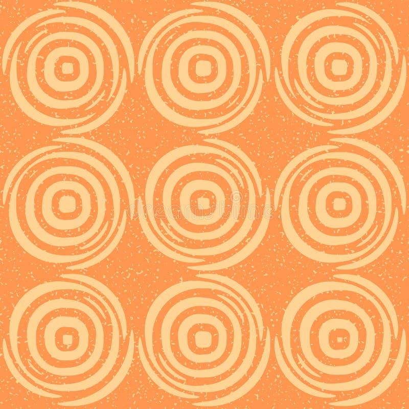 Lignes géométriques tirées par la main sans couture tuiles rondes circulaires rétro Tan Color Pattern orange sale de vecteur illustration de vecteur