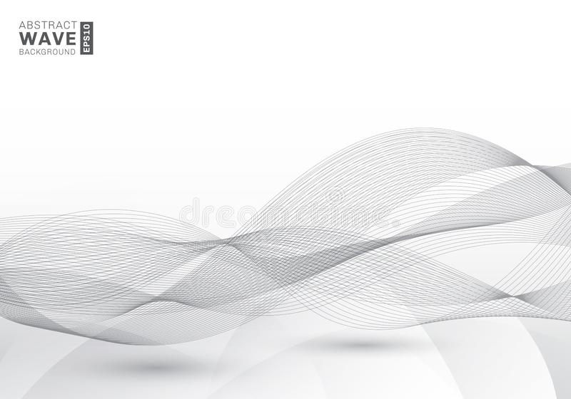 Lignes grises de vitesse futuriste élégante de bruissement de calibre de résumé fond moderne de vagues avec l'espace de copie illustration de vecteur