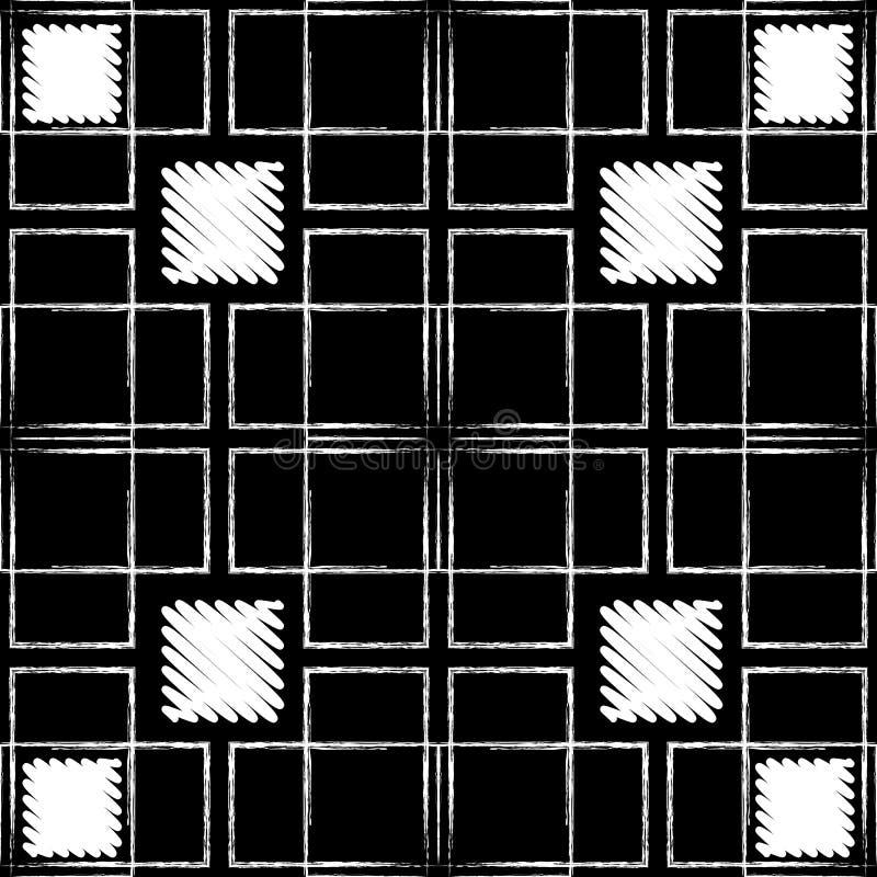 Lignes grunges à carreaux modèle sans couture rayé Fond texturisé de tartan noir et blanc de plaid Ornement haché sale de places illustration de vecteur