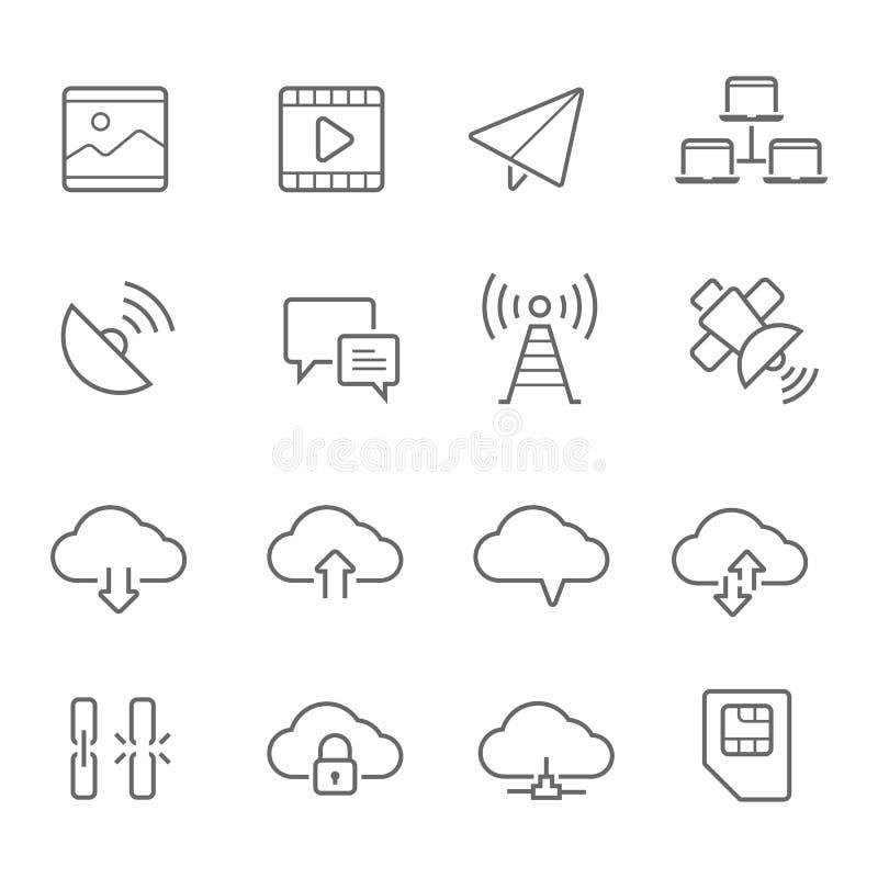 Lignes icône réglée - communication de réseau illustration libre de droits