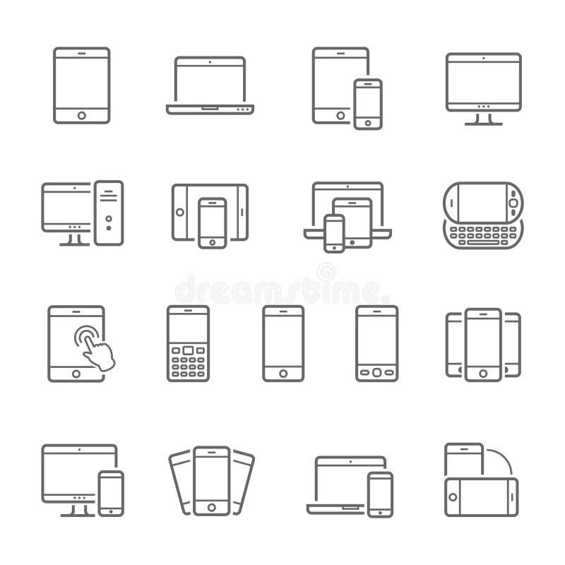 Lignes icône réglée - dispositifs sensibles illustration stock