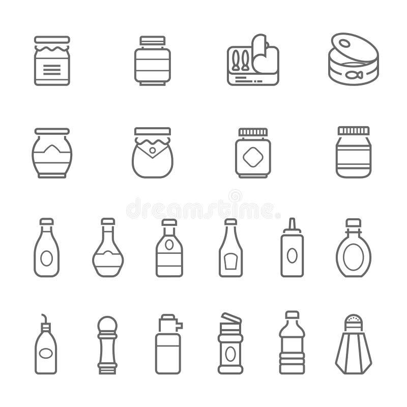 Lignes icône réglée - ketchup illustration libre de droits