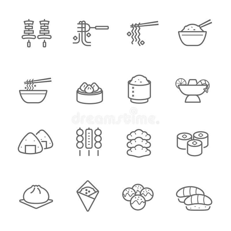 Lignes icône réglée - nourriture orientale illustration de vecteur